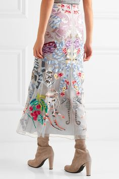 Temperley London | Sail embellished embroidered tulle and crepe de chine skirt | NET-A-PORTER.COM