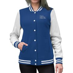 Bring back nostalgia with your personalized Womens Varsity Letterman Jacket! Coming in a variety of colors, this lightweight coat oz) helps you stay warm, cute and comfortable when running errands around town or attending the homecoming footb. Varsity Letterman Jackets, Bad Girls Club, Lightweight Jacket, Cool Tees, Navy And White, Jackets For Women, Women's Jackets, Trending Outfits, Coat