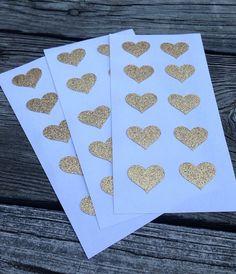 Glitter Envelope Seals Gold Stickers heart  Wedding by SEEDInvites