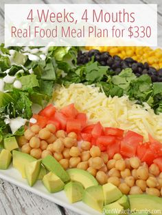 Frugal living idea! Meal planning for a family of 4 for about $330/month... clean eating, simple recipe to help you feed your family real food on a budget without going broke. :: DontWastetheCrumbs.com