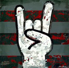 """""""Rock and Roll (Rock On Hands)"""" Kid's Wall Art by Aaron Christensen for Oopsy Daisy, Fine Art for Kids size 14x14"""