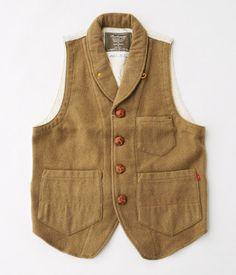 ANACHRONORM Clothing Shawl Collar Melton Vest[BEIGE]