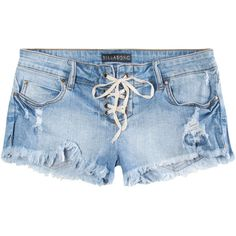 BILLABONG Lite Heart Womens Lace Up Denim Shorts (668.930 VND) ❤ liked on Polyvore featuring shorts, bottoms, pants, short, light blast, billabong shorts, laced shorts, jean shorts, denim short shorts and lace up denim shorts