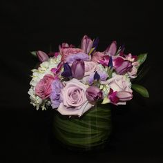 Beautiful Lavender mixed arrangement with Roses, Tulips, and Hydrangea $175