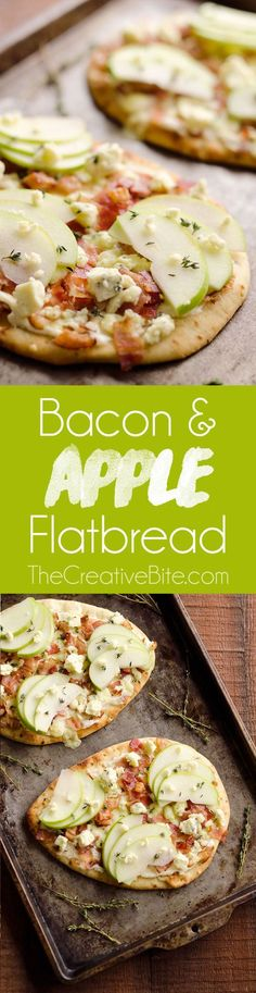 Bacon, Bleu Cheese & Apple Flatbread is an easy 15 minute meal with an amazing and unique flavor combination. This simple 5 ingredient dinner idea is sure to impress! #DinnerIdea