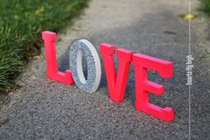 Pink Neon Pink and White 5 Glitter Sparkle Rhinestone Stand-Up Stand Alone Wooden Love Letters.