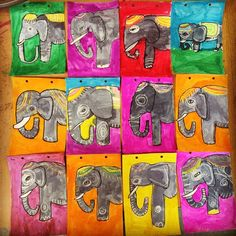Indian Elephants, by 4th graders. Just marker, crayons and liquid watercolors. #elephants #dickblick #MulticulturalArtsandCrafts