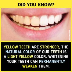 The strongest teeth are natural, healthy ones and these teeth are not white. At least, not white like the color of paper, or even the color of piano keys. They are a couple of shades darker than that! Wierd Facts, Wow Facts, Real Facts, Funny Facts, Weird, True Facts, Random Facts, True Interesting Facts, Interesting Facts About World