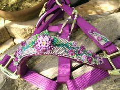 Beaded Horse Halter Purple Hand Beaded by HorsetailsBeadwork, $206.00