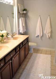 """Sherwin William's paint color """"Passive"""" in the bathroom. A great light gray paint choice."""