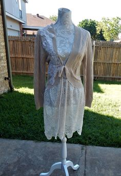 Altered Women's Knitted Top, Wedding Lace Embellished, Maglonia Pearl Style- Medium,Lace Bottom, Shabby Chic, Romantic,Tan Crochet Sweater by CrossMyHeartBags on Etsy