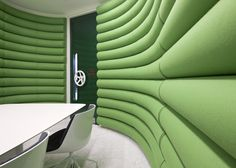 Think Tank!     Interior, Playful Google London HQ by Penson Group: Green Meeting Room With Bespoke Submarine Type 'noise Tight' Doors