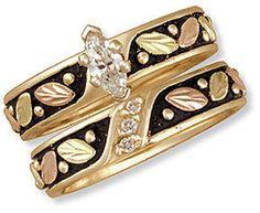J1. Ladies Black Hills Gold Antique Wedding Set with Engagement Ring