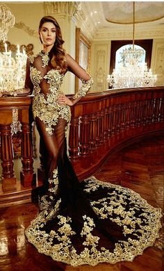 Gorgeous black and gold mermaid evening dress | You can find this at => http://feedproxy.google.com/~r/amazingoutfits/~3/HqdplKsTLLk/photo.php