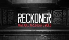 108 Best Free Logo Fonts for Your 2016 Brand Design Projects - Reckoner is a free font inspired to sans serif typefaces like Bebas Neue, Alegre Sans & Dharma Gothic. Reckoner is available in 2 weights – regular and bold. 101 Free Fonts, Best Free Fonts, Free Fonts Download, Free Typeface, Sans Serif Typeface, Fonte Free, Capital Fonts, Free Fonts For Designers, All Caps Font
