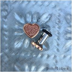 Tiny glitter Heart in rose gold stainless steel plugs for gauged or stretched ears sizes: 14g, 12g, 10g, 8g, 6g, 4g by Boholobes on Etsy https://www.etsy.com/listing/266645573/tiny-glitter-heart-in-rose-gold