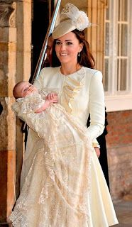 Kate Middleton and Prince George at George's christening