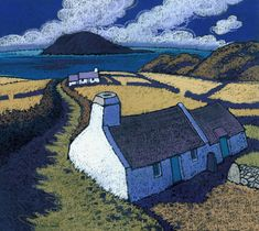 At the very end of the Lleyn Peninsula looking over to Ynys Enlli or Bardsey Island, this pair of tiny cottages made a striking foreground. The track leading past them into the image and on towards the sea serves to point the viewer to the island. The blues of the sea and shadows make a great counterbalance to the yellow hues of the mid-summer fields.