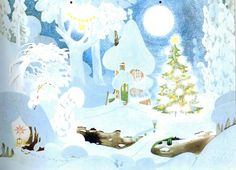 Julkalender, chismas or advent calender, moominhouse in winter