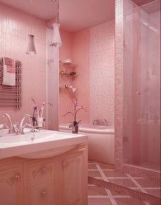 Modelos de baños color rosa para mujeres