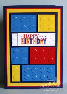 handmade birthday card from A Crafty Cat ... punch art lego blocks ... Mondrian art look ... bright primary colors: blue, red, yellow ... lic the white gel pen marks making the dots look like light is hitting them ...