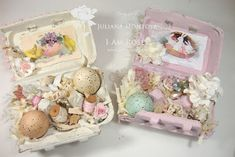Happy Wednesday!!     So I am getting ready to make some Easter gifts and thought I could recycle regular egg boxes and create some Shabby...