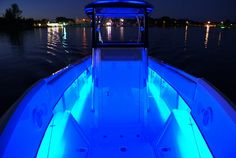 Boat with blue LED rope lights