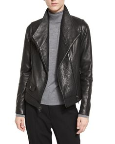 Leather+Asymmetric+Moto+Jacket,+Black+by+Vince+at+Neiman+Marcus.
