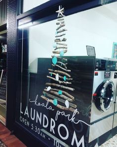 Cute driftwood Christmas tree made from driftwood gathered from Tallebudgera Creek Beach ( Burleigh Heads ) for our laundromat.