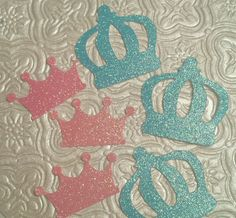 Prince or Princess crown tiara theme for gender reveal baby shower party confetti die cuts invitations inserts table decoration Onederland birthday fairy tale
