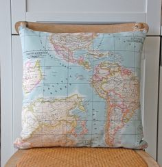 map pillows for Walt's room - would love to do Malta, France, Cape Verde, Oklahoma . . . the places his ancestors are from!