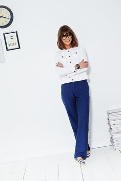 """My new thing is to wear a jacket as one would a shirt, so here I'm wearing it done all the way up, but a few buttons undone wouldn't hurt either."" – Sarah the Boden Stylist"