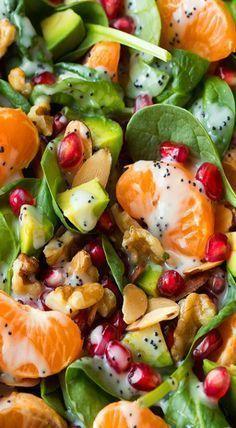 mandarine pomegranate spinach salad healthy mom, healthy food, health and fitness, busy mom, healthy recipes Healthy Salad Recipes, Spicy Recipes, Healthy Snacks, Chicken Recipes, Vegetarian Recipes, Healthy Eating, Cooking Recipes, Easy Snacks, Cooking Tips