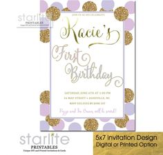 Girl Birthday Invitation Lavender Lilac Gold Glitter, any age with simulated Gold Glitter and simulated Gold Foil - available in personalized digital or premium press printed invitations. 1st Birthday Invitations Girl, Little Girl Birthday, Birthday Ideas, Invitation Design, Invitation Cards, Fancy Script Font, Lilac, Lavender, Gold Birthday