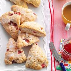 Need recipes for scones? Get recipes for scones for your next breakfast. Taste of Home has lots of recipes for scones including blueberry scones, cheese scones, and more recipes for scones. Breakfast Recipes, Dessert Recipes, Desserts, Sweet Breakfast, Dessert Ideas, Cream Scones, Lemon Scones, Strawberry Recipes, Strawberry Scones