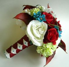 Red and Aqua-love this color scheme!   13 Piece Wedding Flower Package in Deep Red by BlueLilyBridal