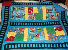 THOMAS the TRAIN size 52 X 62 handmade OOAK by cactusflowerwomen, $100.00