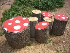 Alice in Wonderland garden ideas;  garden toad stools