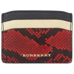 Burberry Shoes & Accessories Izzy Snakeskin Card Holder ($200) ❤ liked on Polyvore featuring shoes, color block shoes, colorblock shoes, burberry, snakeskin shoes and burberry shoes