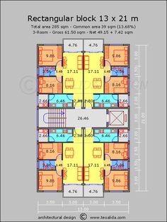 Apartment plans sqm designed by teoalida Condo Floor Plans, Hotel Floor Plan, Duplex House Plans, Home Design Floor Plans, Apartment Floor Plans, Modern House Plans, Bedroom House Plans, Small Apartment Plans, Residential Building Plan