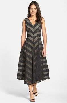 Maggy London Check Stripe V-Neck Fit & Flare Dress available at #Nordstrom