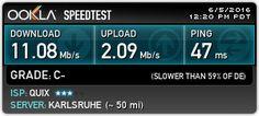 Sehen Sie sich meine Ergebnisse von Ookla Speedtest an!