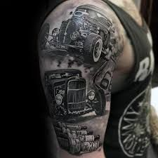 hot rod tattoo sleeve black white - Google zoeken                                                                                                                                                                                 Mehr