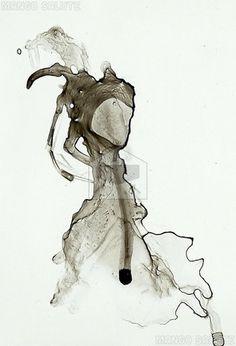 Mango Salute greeting card art: Inky Splodge 4 by Lisa de Cunha