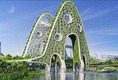 futuristic garden Futuristic Architecture, Sustainable Architecture, Amazing Architecture, Landscape Architecture, Landscape Design, Pavilion Architecture, Chinese Architecture, Architecture Office, Residential Architecture