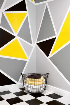 Geometric Wall decor Series geometric walls make a big statement. As these designs are made with wallpaper, paint or art, changing them is an easy switch once you're ready for something new. Creative Wall Painting, Wall Painting Decor, Creative Walls, Tape Painting, Bedroom Wall Designs, Wall Art Designs, Paint Designs, Wall Decor Design, Wall Paint Patterns