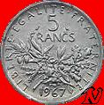 5F Semeuse argent (835/1000), 10,02g d'argent fin.