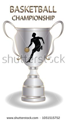 Basketball championship - Cup with the emblem of a basketball player with a ball - silver, gold metal - isolated on a white background - art vector