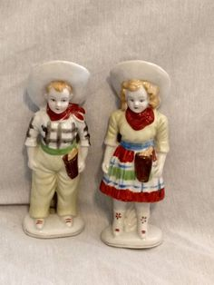 "Vintage Porcelain Cowboy And Cowgirl Figurines 6""  Occupied Japan"