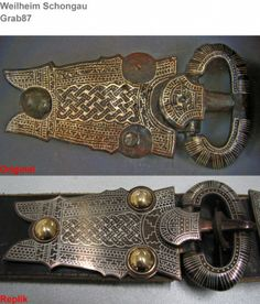 Weilheim Schongau / Grab 87 Original-Gürtelschnalle und Replik Medieval Jewelry, Medieval Art, Viking Jewelry, Vikings Live, Witch Queen, Early Middle Ages, Iron Age, Anglo Saxon, Dark Ages